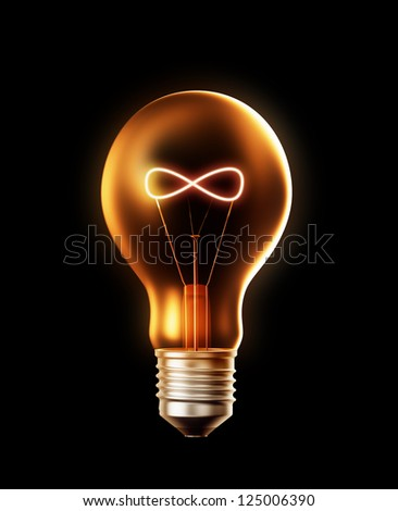 A lightbulb with a filament shaped like a infinity symbol - stock photo