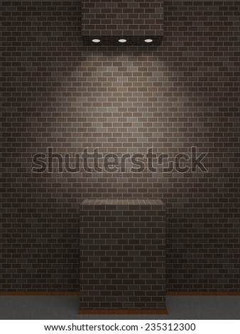 A lighted niche on the dark bricks wall for the exhibition and presentation. 3D rendering - stock photo