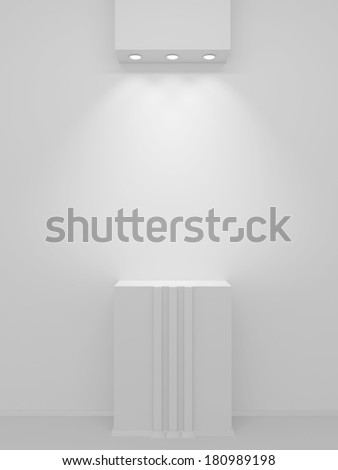 A lighted niche on the white wall for the exhibition and presentation. 3D render. - stock photo