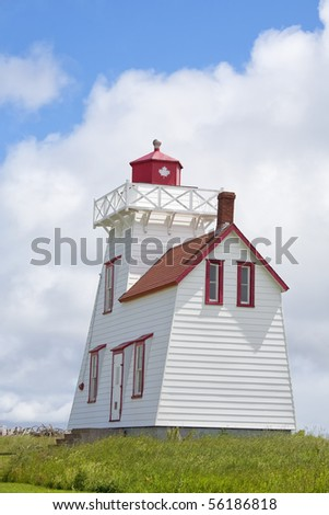 A lighthouse located in North Rustico, Prince Edward Island, Canada.