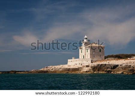 A lighthouse on the island Brijuni- Croatia - stock photo