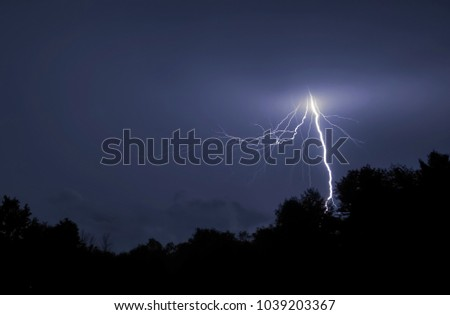 A Lightning Strike at Night