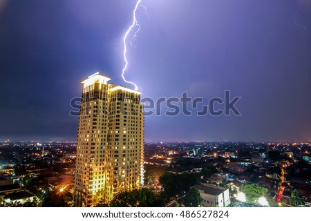 A lightning struck the Somerset building in South Jakarta Indonesia.