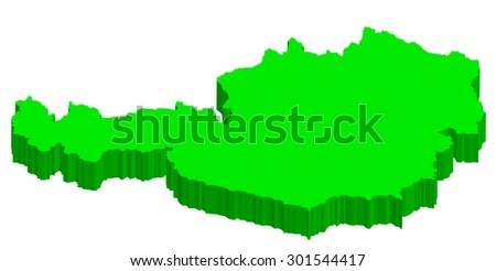 A lime green 3D Austria map isolated on white background - Illustration