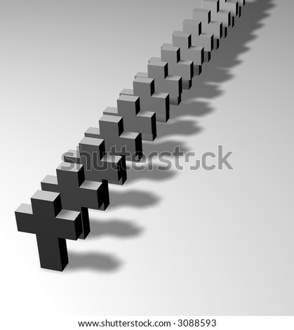 A line of grey crosses standing in a line and shined sideways