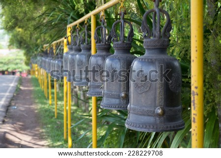 A line of Temple bell for buddhist to worship