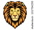 A Lion head logo. This is illustration ideal for a mascot and tattoo or T-shirt graphic. Raster version, vector file also included in the portfolio. - stock photo