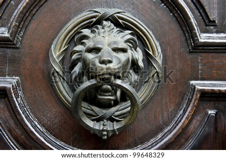 A Lion knocker on a stained door.
