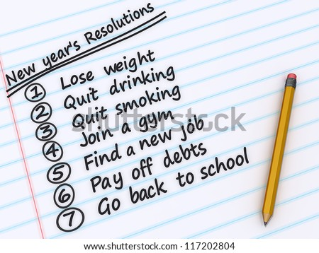 A list of New years resolutions on a sheet of paper. - stock photo