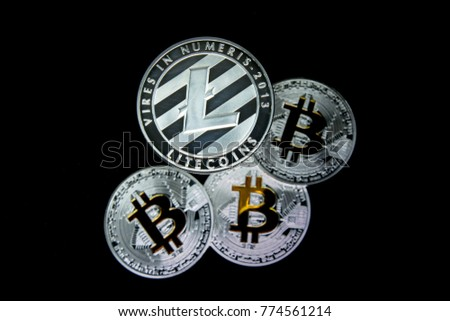 A Litecoin above defocused Bitcoins