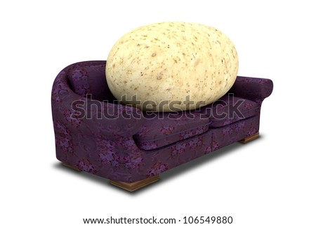 A literal depiction of a potato sitting on a purple floral couch