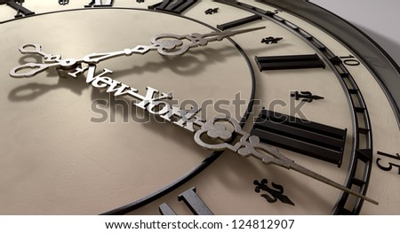 A literal description of the saying new york minute of a close up of an antique clock with metal hands with the minute hand saying new york on it