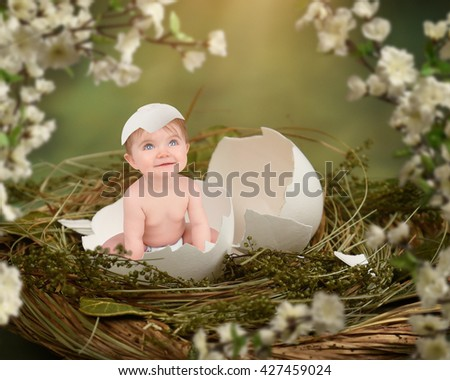 A little baby is in a bird nest with an open egg for a love concept or birth announcement idea. - stock photo
