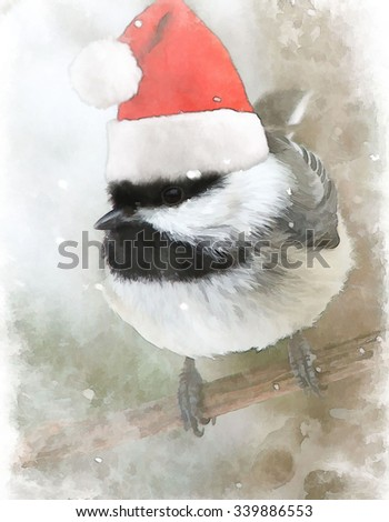 A little black capped chickadee wearing a Santa hat turned into a snowy Christmas illustration