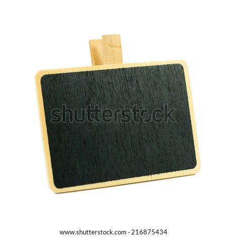 A little blank standing blackboard isolated on white background - stock photo
