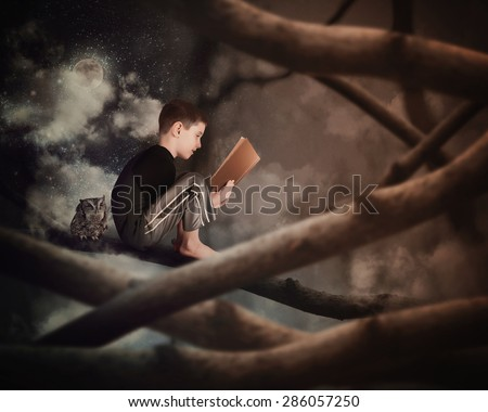 A little boy is sitting on a tree branch reading on old story book with an owl in the dark woods for an education or imagination concept. - stock photo