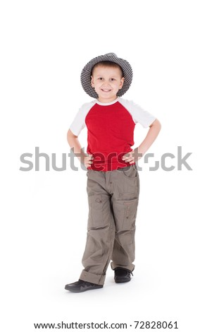 A little boy wearing a hat. Isolated on white background