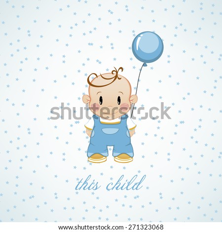 A little boy with inflatable balls and stars. The birthday child - stock photo