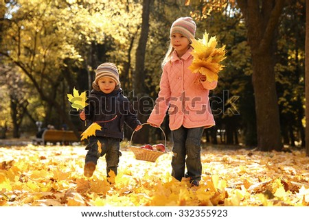 a little brother and sister playing outdoors in autumn park