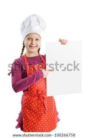 A little chef with a blank sheet of paper - stock photo