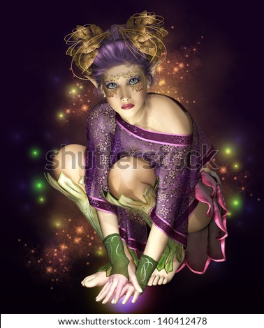 a little fairy with golden headdress surrounded by light sparks - stock photo