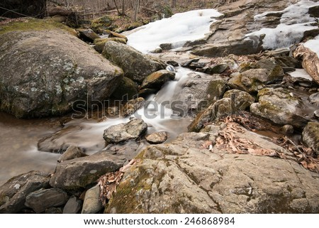 A little falls along the side at Dark Hollow trail in Winter. Combination of ice falls and water falls. Shenandoah, VA - stock photo