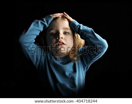 A little girl being stressed - stock photo