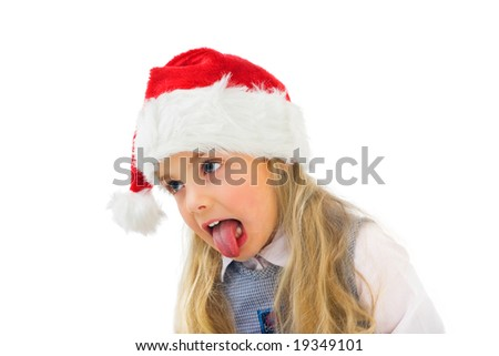 a little girl does not like christmas - stock photo