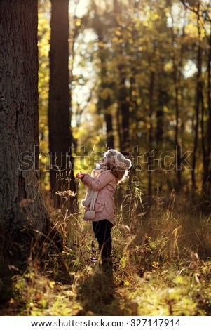 A little girl in a knitted hat walking in the park on a sunny autumn day