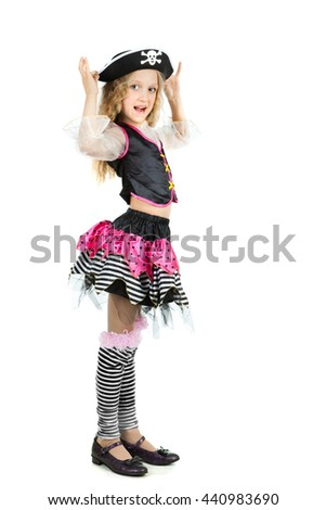 a little girl in pirate carnival costume for Halloween. - stock photo