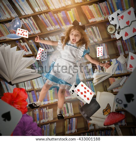 A little girl is falling down with game cards, time clocks and story books with a library behind her for an creative imagination concept - stock photo