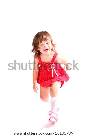 A little girl laughing moving over white background - stock photo