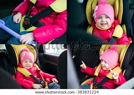 a little girl of three years in winter in a red jacket and a pink hat sitting in a car in a child car seat is going on a journey, and strapped is secure, smiling and builds funny faces. collage