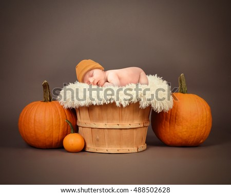 A little newborn baby is sleeping in a wooden basket in a studio with orange pumpkins for a Halloween or portrait image.