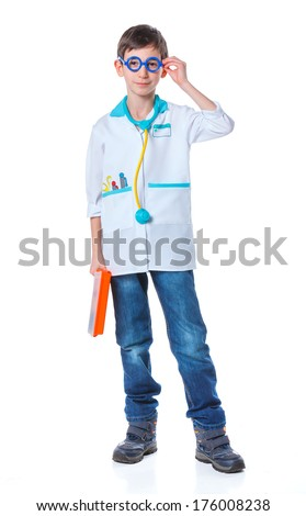A little smiling doctor with stethoscope and syringe. Isolated on white background