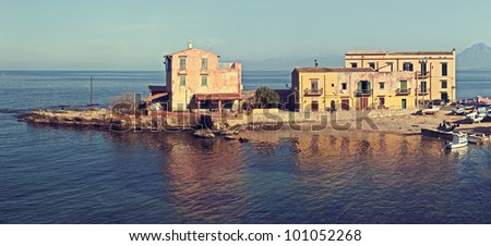 """A little town Sant Elia in the coast of Sicily near Palermo. There was make italian telefilm """"Agrodolce"""". - stock photo"""