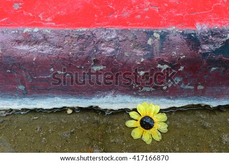 A little yellow flower has fallen into the gutter, the fascination of found objects as allegory. - stock photo