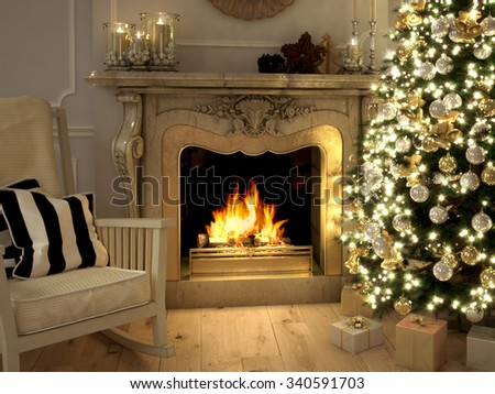 A living room at Christmastime lit only by the fire and Christmas tree. 3d rendering