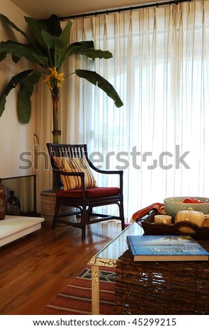 a living room in a modern dream house - stock photo