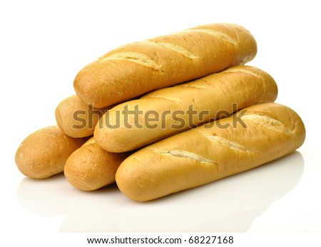 A loaf of fresh baked french or italian bread on a white background - stock photo
