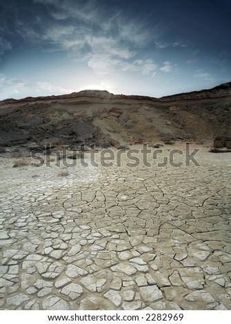 A loam desert located at Qeshm Island in the Persian Gulf - stock photo