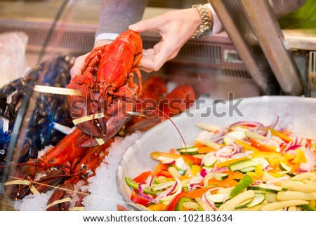 A lobster for a sale at a fresh seafood counter in a grocery store - stock photo