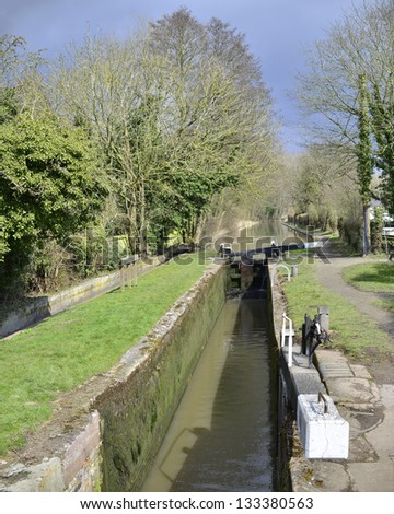 a lock gate on a canal on the inland waterways network of navigable canals and waterways in the english and british countryside in the uk, united kingdom, great britain, europe