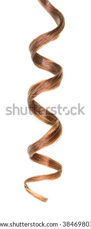 A lock of curly brown hair isolated on white background.