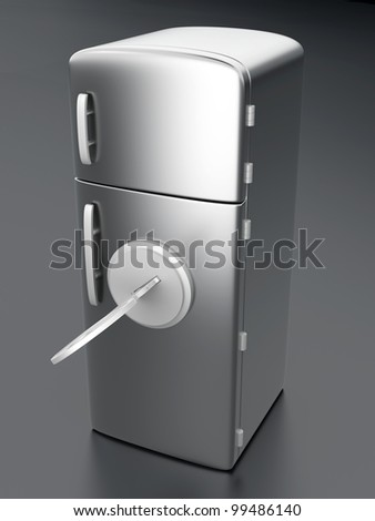 A locked, classic Fridge. 3D rendered Illustration. - stock photo