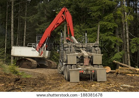 A log loader or forestry machine loads the rear trailer on a log truck at the site landing in southern Oregon - stock photo