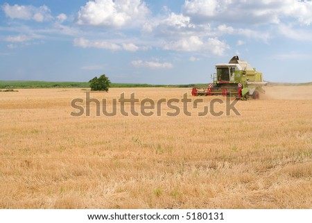 A lone combine harvester move purposefully across a wheat field