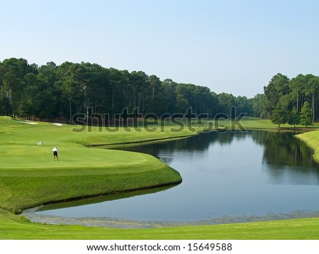 A lone golfer on this beautiful Myrtle Beach, South Carolina golf course.