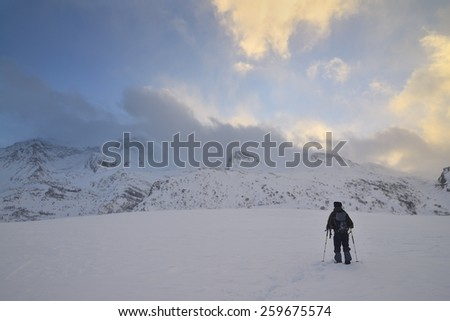 A lone hiker - Mont Cenis ( France ). - stock photo