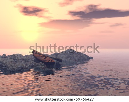 A lone rowboat is pulled up on a rocky outcrop, facing a magnificent glowing orange-pink sunset. - stock photo